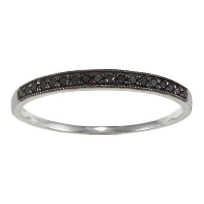 White Gold Milgrain Pave Black Diamond Band