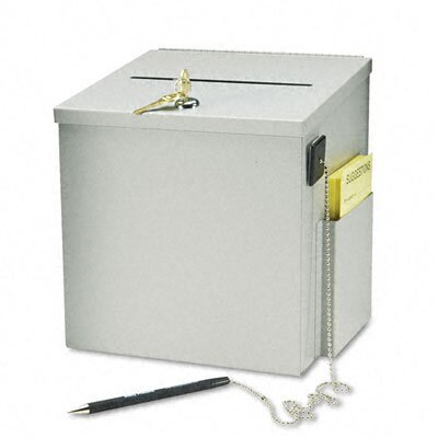 Buddy Products Recycled Steel Suggestion Box W/Locking Top, 8-1/2w x 8d x 9-3/4h, Platinum