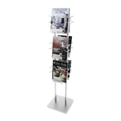 "Buddy Products Magazine Displayer, 6 Pockets, 12""x12""x48"", Silver"