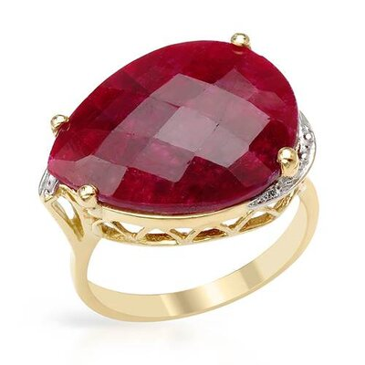 14K/925 Gold Plated Silver Checkerboard Cut Ruby Ring
