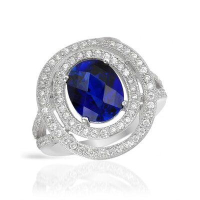 925 Sterling Silver Checkerboard Cut Sapphire Ring