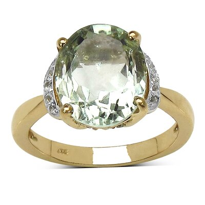 14K Gold Plated Oval Cut Green Amethyst Ring