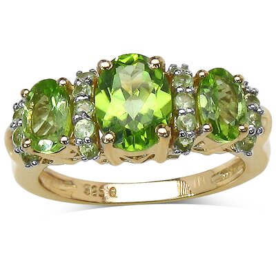 925 Sterling Silver Oval Cut Peridot Ring