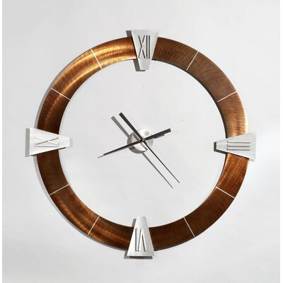 Jon Gilmore Deco Round Roman Clock in Bronze and Copper