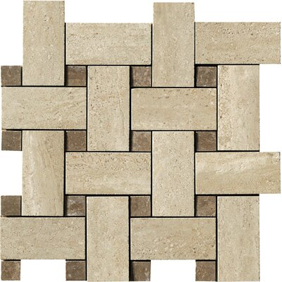 "Samson Tile Travertini 12"" x 12"" Matte Mosaic Weave Floor and Wall Tile in Cream"