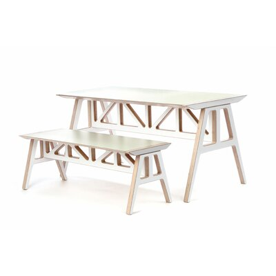 Context Furniture Truss 2 Piece A - Frame Table and Bench Set