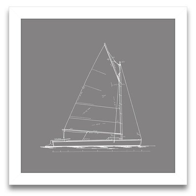 Epic Art Sail Away Sailboat Blueprint III Wall Art