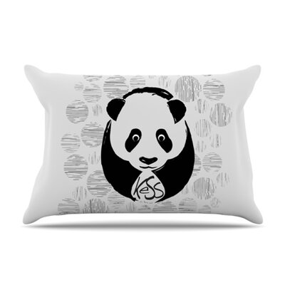 KESS InHouse Panda Microfiber Fleece Pillow Case