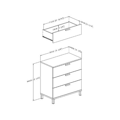 South Shore Flexible 3 Drawer Chest