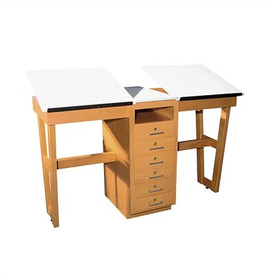 Shain A-Frame Two Station Table with Adjustable Top and Drawers
