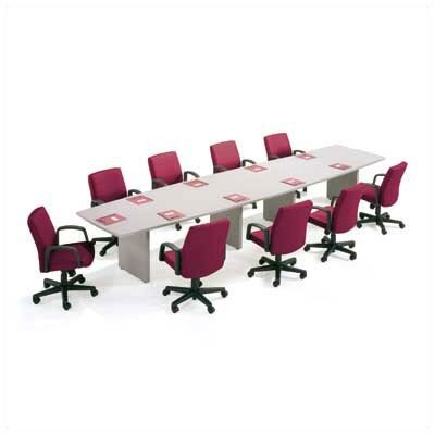 "ABCO 144"" Wide T-Mold Boat Shape Top Conference Table with Slab Base"