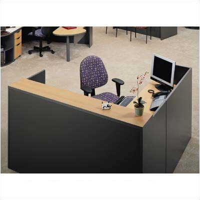 "ABCO Unity Series 72"" x 78"" Reception Desk with Matching 2-Drawer Partial Pedestal"