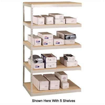 "Penco 72"" & 96"" Wide Double Rivet Units (with Center Support) - 5 Shelf Add-On Unit, w/ Channel Beams"