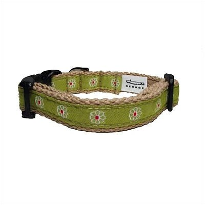 George SF Green Flower Cotton Tiny Dog Collar