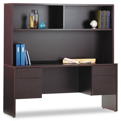 Global Total Office GENOA-Credenzas-Box/File Pedestals on Both Sides w/Kneespace in Center - 20D x 66W x 29H in DARK ESPRESSO