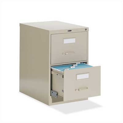 "Global Total Office 25"" D Two-Drawer Vertical Letter File"