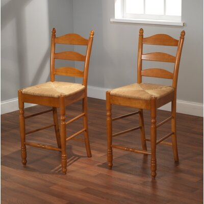 "TMS 24"" Ladder Back Stool in Oak (Set of 2)"