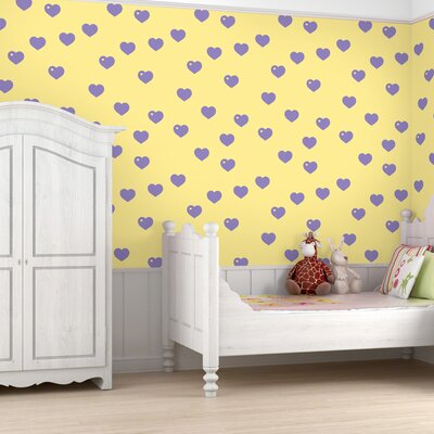 WallCandy Arts Hearts Wallpaper in Butter and Lavender