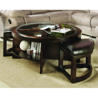 Woodbridge Home Designs 3219 Series Coffee Table with 2 Ottomans