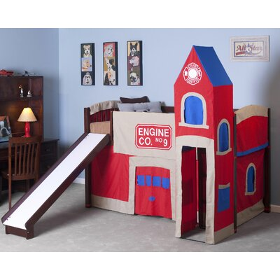 School house twin firehouse low loft bed wayfair - Fireman bunk bed ...