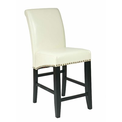 "OSP Designs Bonded Leather 24"" Parsons Barstool with Nail Head Accents"