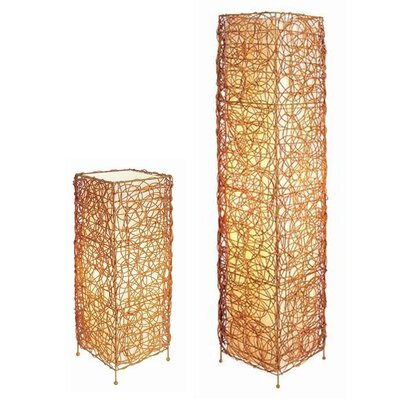 ORE Furniture Wicker Table Lamp and Floor Lamp Set