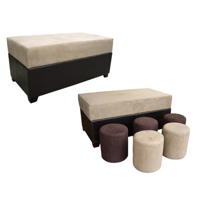 ORE Furniture Upholstered Storage Ottoman