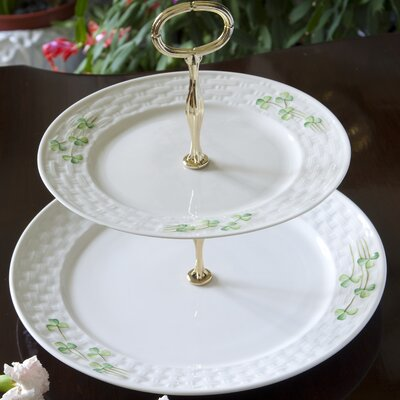 Belleek Shamrock Two Tiered Cake Plate