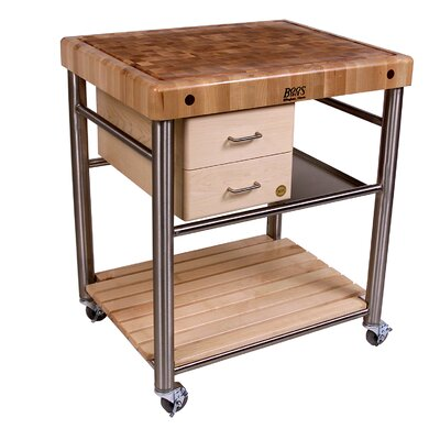 John Boos Cucina Americana Toscano Kitchen Cart with Butcher Block Top