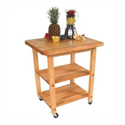 John Boos BoosBlock Appliance Center Kitchen Cart with Butcher Block Top