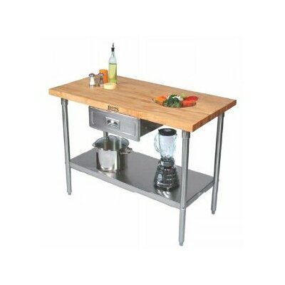 John Boos Cucina Americana Prep Table with Wood Top