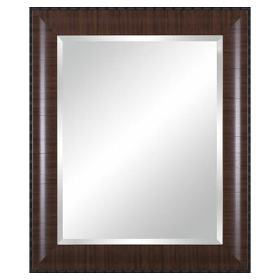 Vanity Beveled Mirror in Rustic Brown with Black Lip