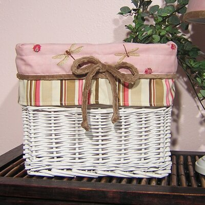 Pink Ladybugs and Dragonflies Wicker Basket