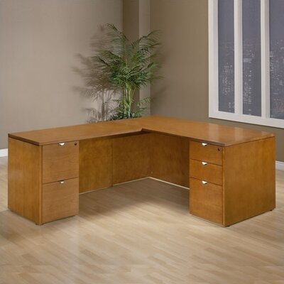 OSP Furniture Kenwood L-Shaped Executive Desk with Straight Front