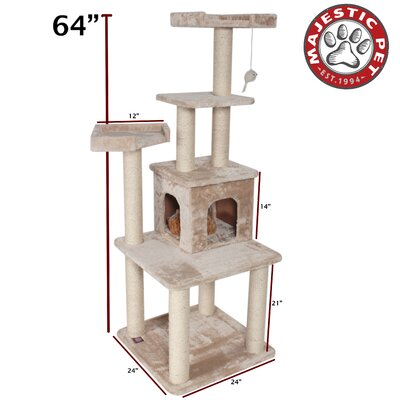 "Majestic Pet Products 64"" Casita Fur Cat Tree"