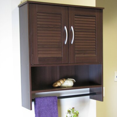 Bathroom Wall Cabinet with Two Louvered Doors in Espresso
