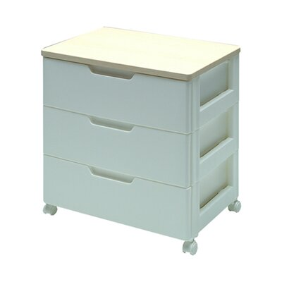 Premium Drawer Storage Series High Grade 3 Drawer Chest in White with Natural Wood Top ...