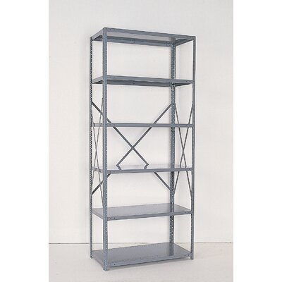 Republic Industrial Clip Open Shelving: Angle Post Units with 6 Shelf Frames; Starter Unit