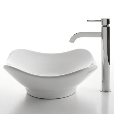Kraus Ceramic Tulip Bathroom Sink with Ramus Single Lever Faucet