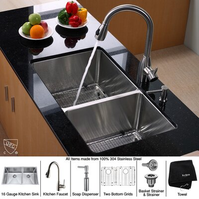 "Kraus Undermount 33"" Double Bowl 70/30 Kitchen Sink"