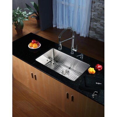 "Kraus 30"" x 18"" Undermount Kitchen Sink with Faucet and Soap Dispenser"