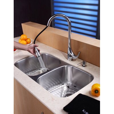 "Kraus 32"" Undermount 50/50 Double Bowl Kitchen Sink with 18.5"" Faucet and Soap Dispenser"