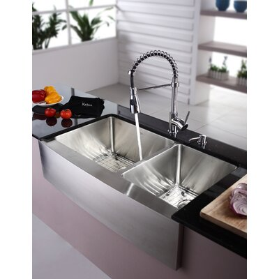 "Kraus Farmhouse 36"" Double Bowl Kitchen Sink with Faucet and Soap Dispenser"