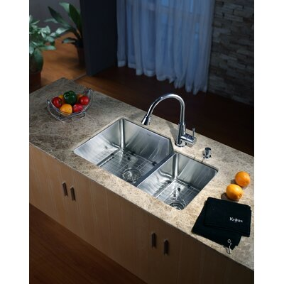 "Kraus 32"" Undermount 70/30 Kitchen Sink with 14.9"" Faucet and Soap Dispenser in Chrome"