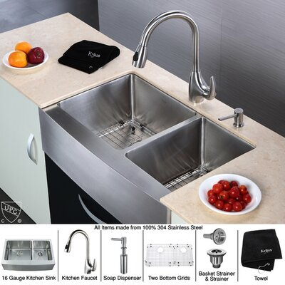 "Kraus Farmhouse 33"" Double Bowl Kitchen Sink with Faucet and Soap Dispenser"