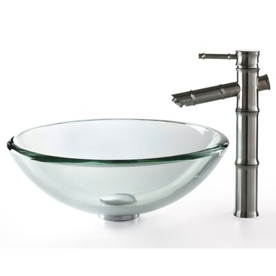 Kraus Bathroom Combos Glass Vessel Bathroom Sink with Bamboo Faucet