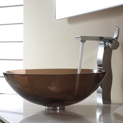 Kraus Bathroom Combos Glass Vessel Bathroom Sink with Single Handle Faucet