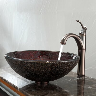 Kraus Callisto Glass Vessel Sink and Riviera Faucet