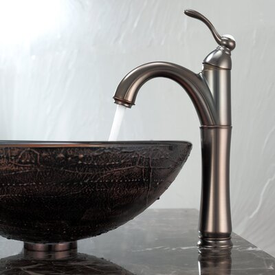 Kraus Copper Illusion Glass Vessel Sink and Riviera Faucet