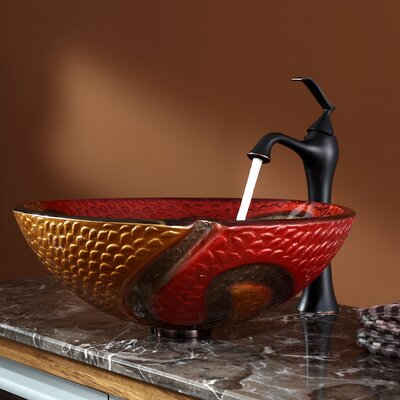 Copper Snake Glass Vessel Sink and Ventus Faucet - C-GV-620-17mm-15000ORB